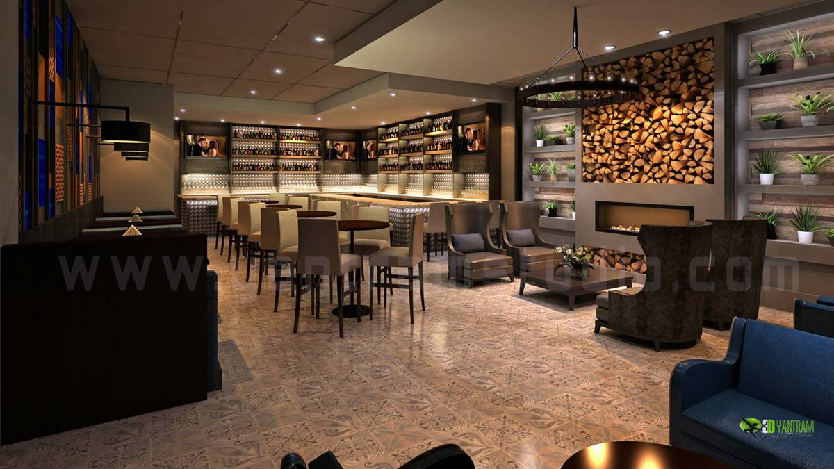 Yantram studio 3d architectural rendering - Interior design of bar ...
